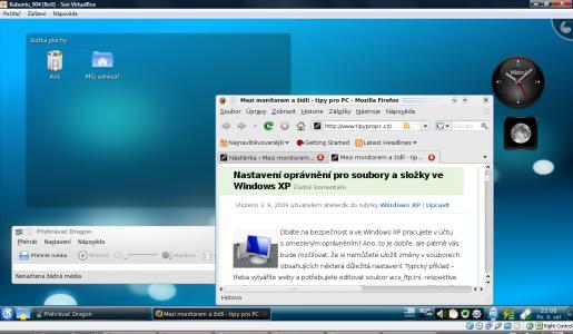 Kubuntu 9.04 nainstalované ve VirtualBoxu