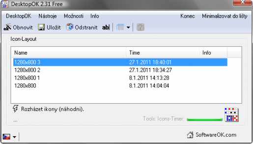 Pracovní okno programu DesktopOK