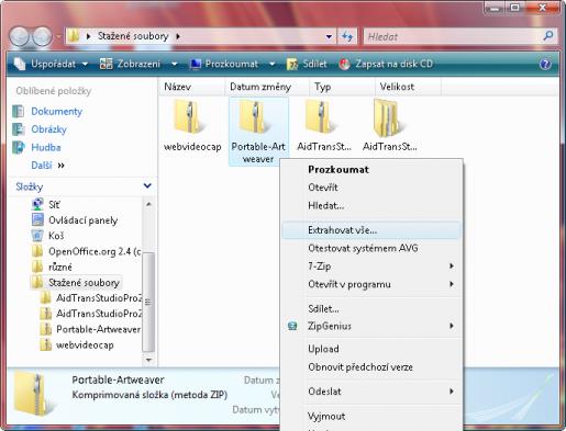 rozbalení ZIP souboru