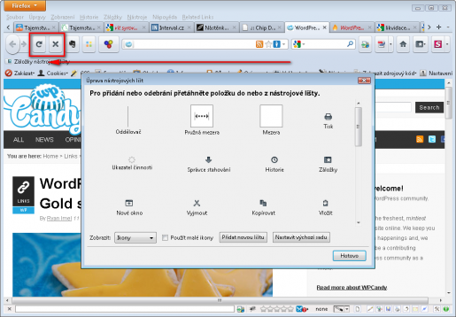 Přesun tlačítka reload - obnovení stránky ve Firefoxu 4
