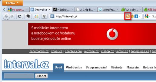 Ikona RSS v adresním řádku Firefoxu 4 - rozšíření RSS Icon