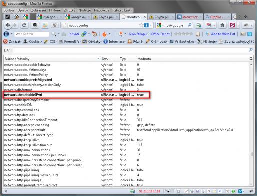V konfiguraci Firefoxu změňte parametr network.dns.disableIPv6 na hodnotu false