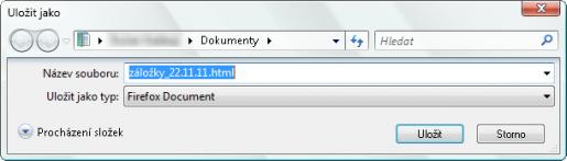 výběr umístění pro exportovaný soubor záložek