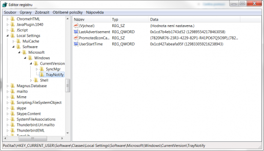Editor registru - oprava ikon v oznamovací oblasti