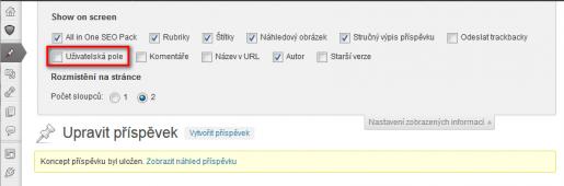 Zviditelnění sekce pro uživatelská pole v editačním formuláři příspěvku WordPressu